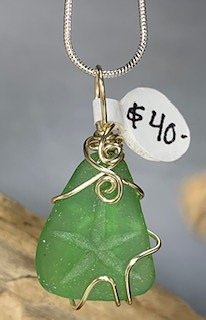 Green Sea Glass with Etched Starfish