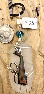White Sea Glass with Silver Cat